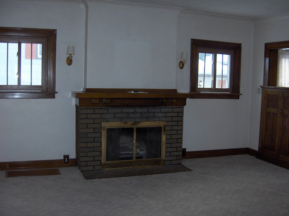 fire place in living area.
