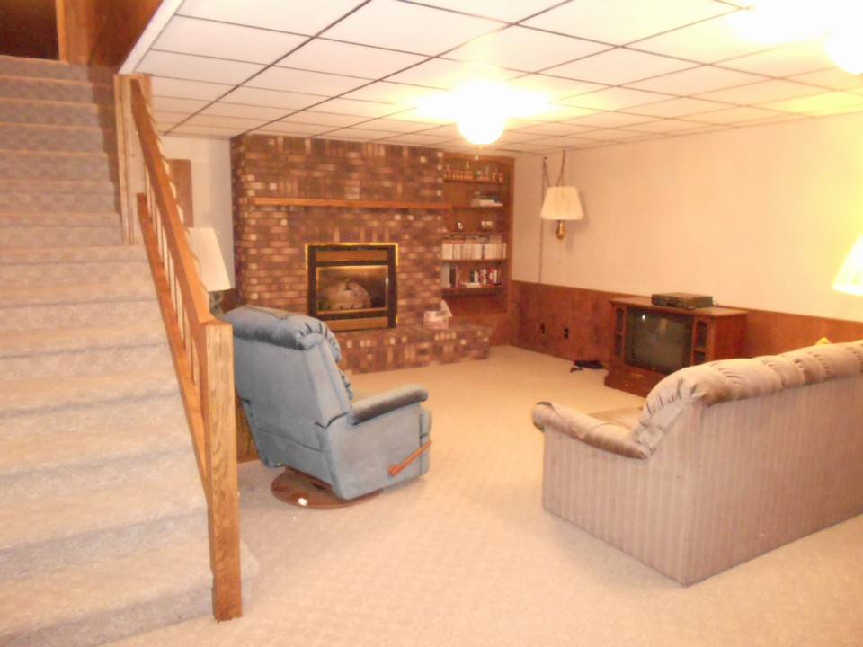 basement family room gas fireplace