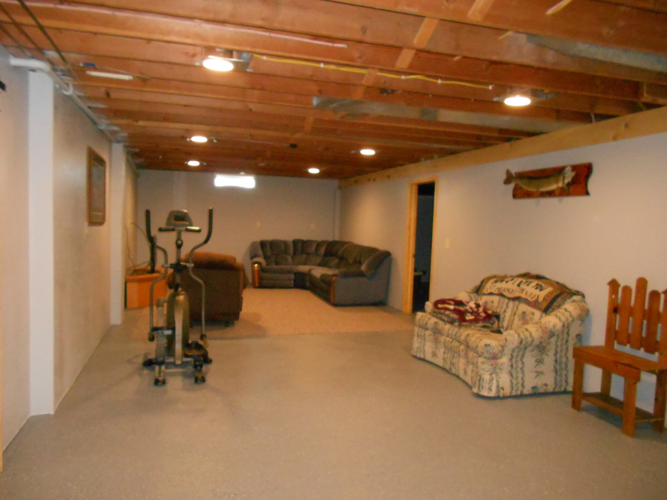 wide open basement family room