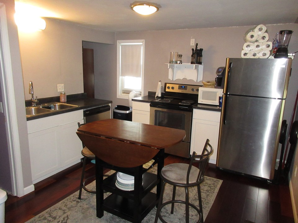 kitchen newer stainless appliances.  new flooring.