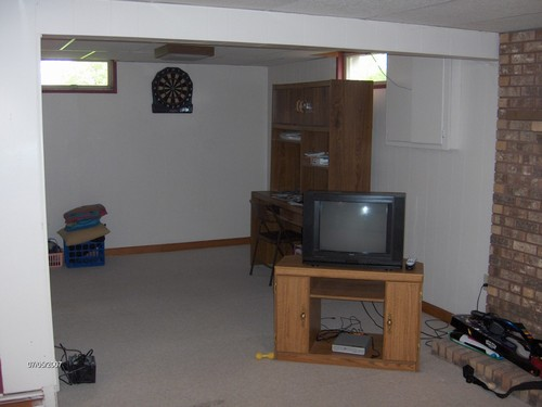 basement family room area, could also easily be a bedroom.