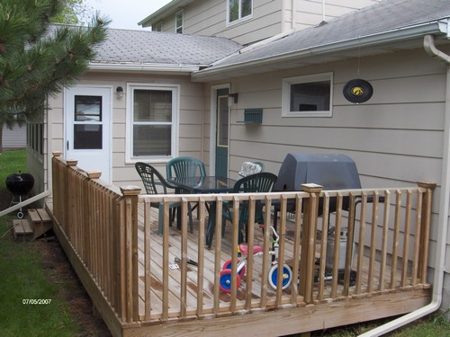 deck private grilling area.  enter into house or garage.